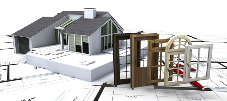 Replacement Windows - Picture of a House on top of blueprints with a choice of windows and doors
