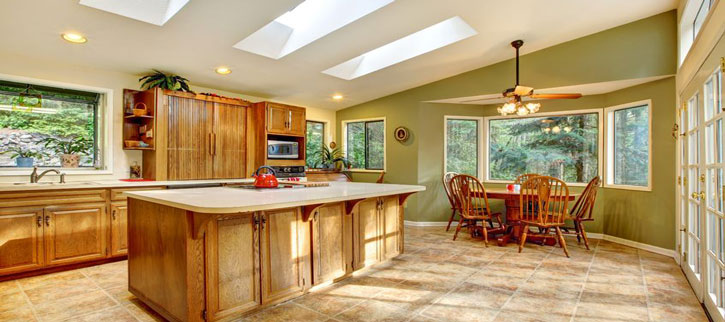 Skylights - Picture of two skylights in a beautiful kitchen.